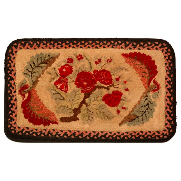 19th Century New England Hand-Hooked Floral Mounted Rug