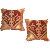 Pair of Antique Pillows with 19th Century French Velvet Panels