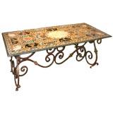 Italian Dining or Center Table Featuring Specimen Hardstone Top