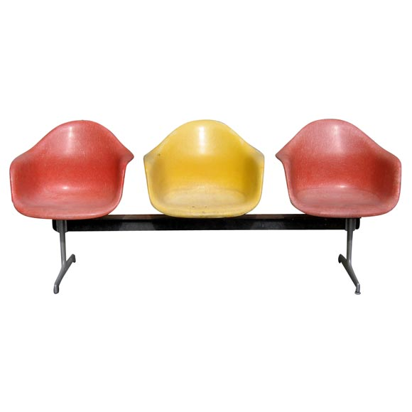 Charles Eames - Three-Seater Fiberglass Bench by Charles Eames :  home 1st dibs vintage colour