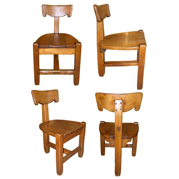 Set of 4 Unique Arts and Crafts Chairs at 1stdibs