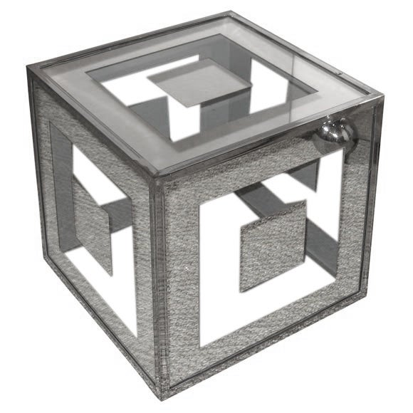Glass and metal cube side table at 1stdibs