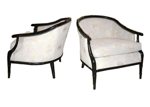 1304 Pair Of Ebonized Faux Bamboo Lounge Chairs At 1stdibs