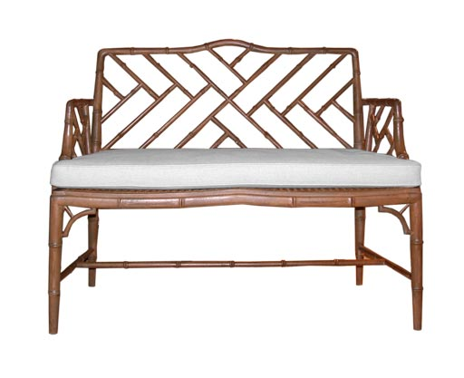 Carved Faux Bamboo Bench With Cane Seat At 1stdibs