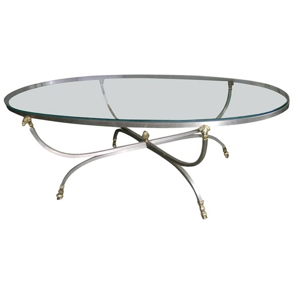 Brushed Steel Oval Cocktail Table At 1stdibs