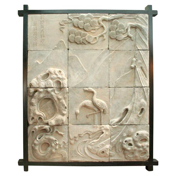 Ceramic Tile Relief Mosaic In Frame At 1stdibs