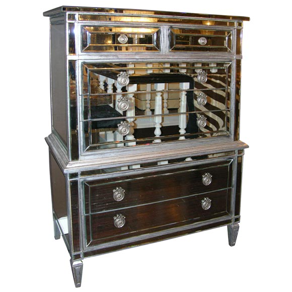 Custom Mirrored French Style Highboy Stdibs