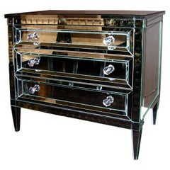 Neoclassical Modern 3-Drawer Beveled Mirrored Dresser