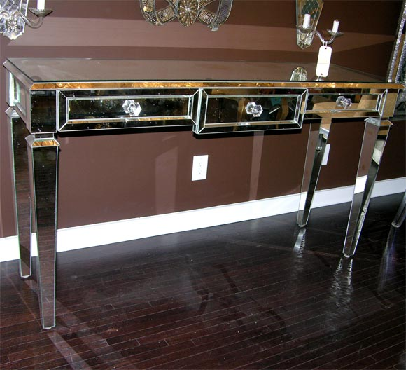 3 draw mirrored console with glass knobs
