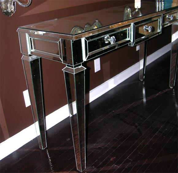 American Custom Mirrored Console Table For Sale