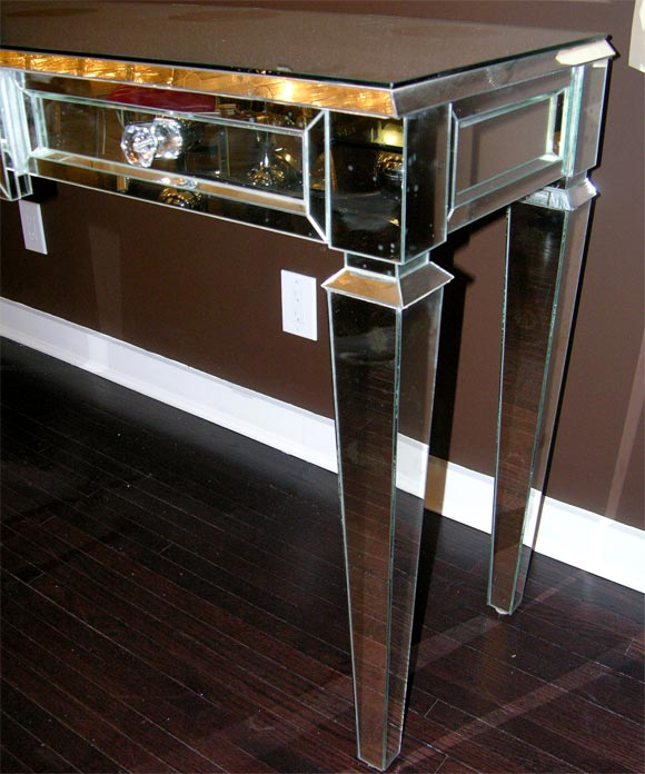 Contemporary Custom Mirrored Console Table For Sale
