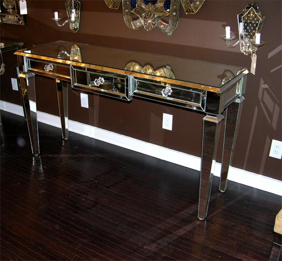 Custom Mirrored Console Table For Sale 2