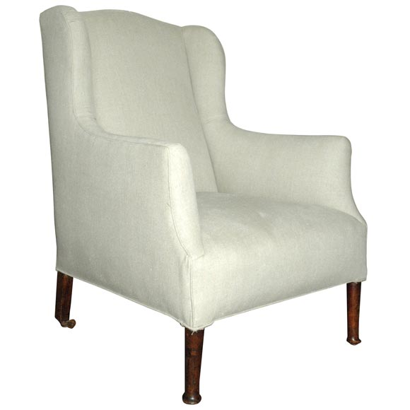 Upholstered High Back Chair at 1stdibs