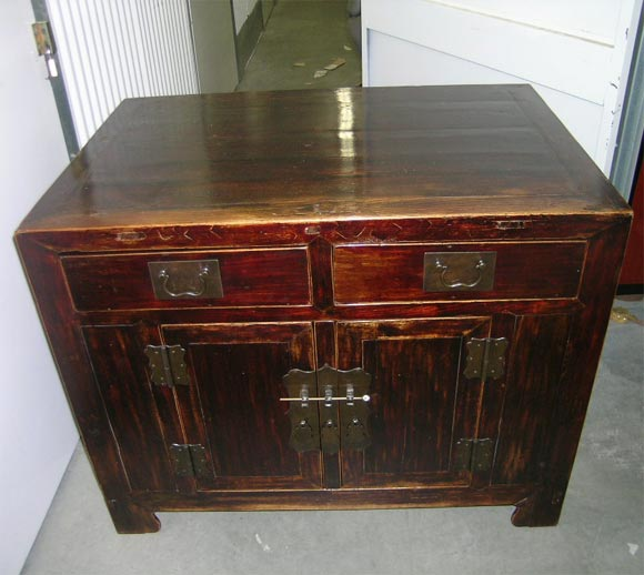 Lacquered 19th Century Qing Dynasty Southern Elm Buddhist Cabinet in Original Lacquer For Sale