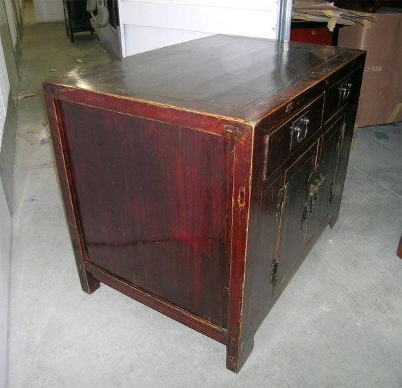 19th Century Qing Dynasty Southern Elm Buddhist Cabinet in Original Lacquer For Sale 1