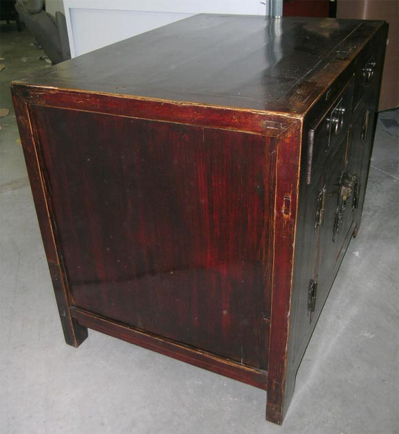 19th Century Qing Dynasty Southern Elm Buddhist Cabinet in Original Lacquer For Sale 2