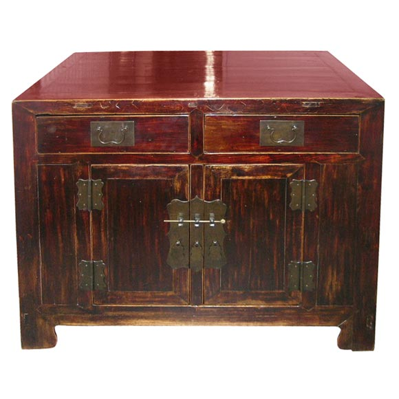 19th Century Qing Dynasty Southern Elm Buddhist Cabinet in Original Lacquer