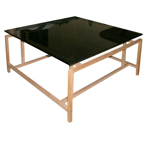 Danish Oak Coffee Table With Smoked Glass Top At 1stdibs