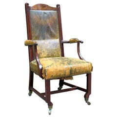 18th c. Scottish Partner's Desk Chair in Original Leather