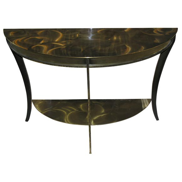 Neoclassical Plated Steel Demi Lune Console Table At 1stdibs
