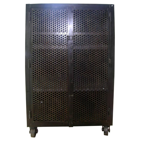 French Metal Two Door Perforated Cabinet At 1stdibs