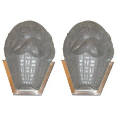 Signed French Art Deco Wall Sconces by Degue
