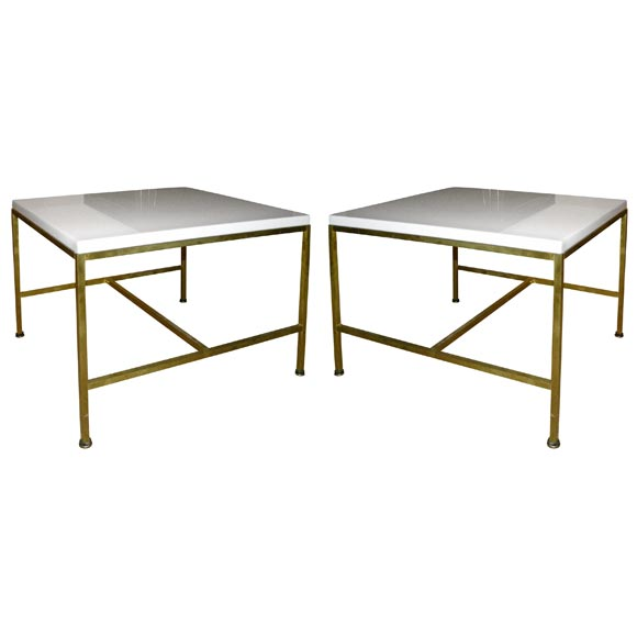Pair of White Glass Top Occasional Tables by Paul McCobb