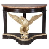 Neoclassical Italian Eagle Parcel-Gilt and Mahogany Console