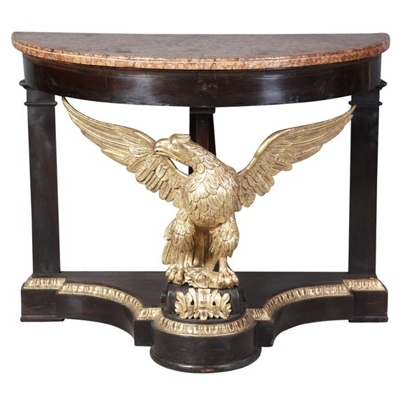 Neoclassical Italian Eagle Parcel-Gilt and Mahogany Console
