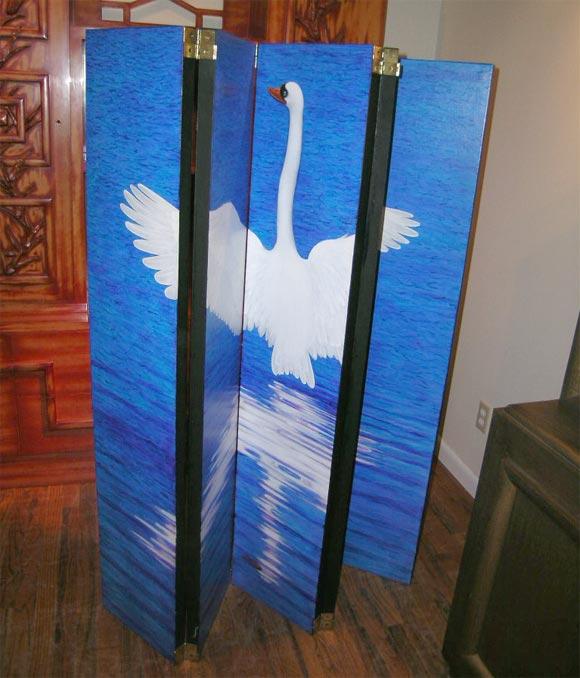 Wood Swan Screen by Lynn Curlee For Sale