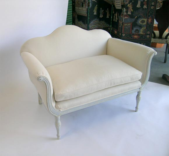 A Cozy Camel Back Love Seat At 1stdibs
