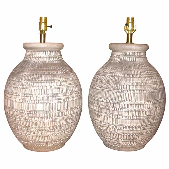 Pair Of XL Table Lamps At 1stdibs