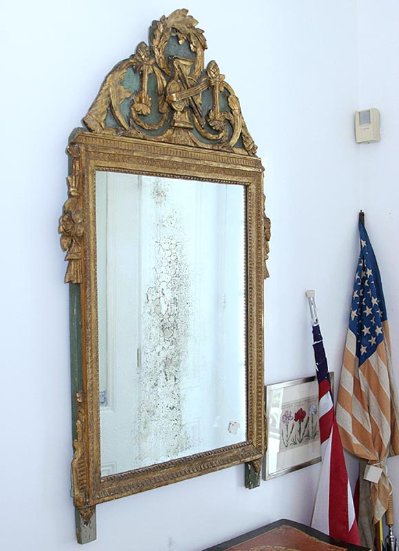 19th century wood carved mirror, hint of green paint in top of carving.