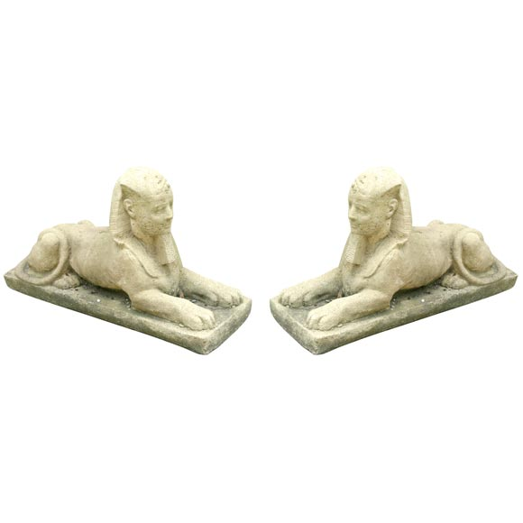 Pair Of Concrete Garden Sphinx 1