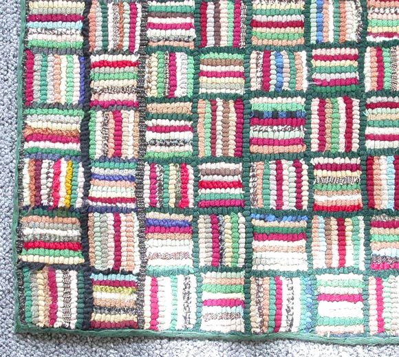 1930S HAND HOOKED MINI-LOG CABIN RUG At 1stdibs