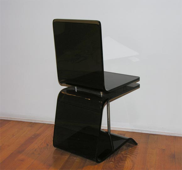 SMOKED LUCITE Desk Chair by Francois Arnal at 1stdibs