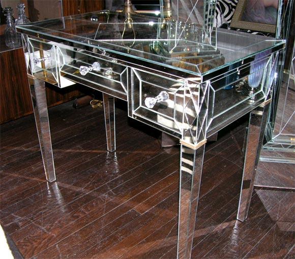 American Custom Mirrored Writing Desk For Sale