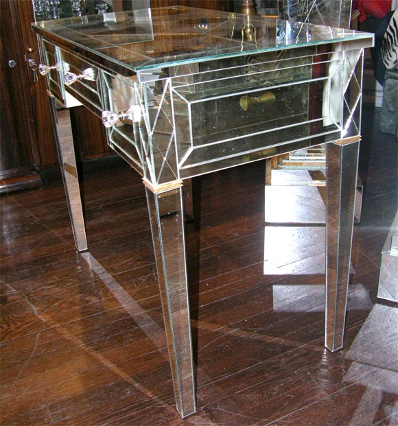 Custom Mirrored Writing Desk In Excellent Condition For Sale In New York, NY