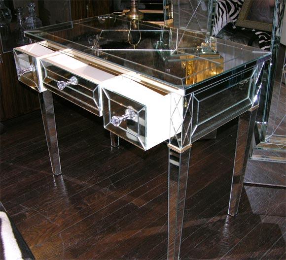 Contemporary Custom Mirrored Writing Desk For Sale