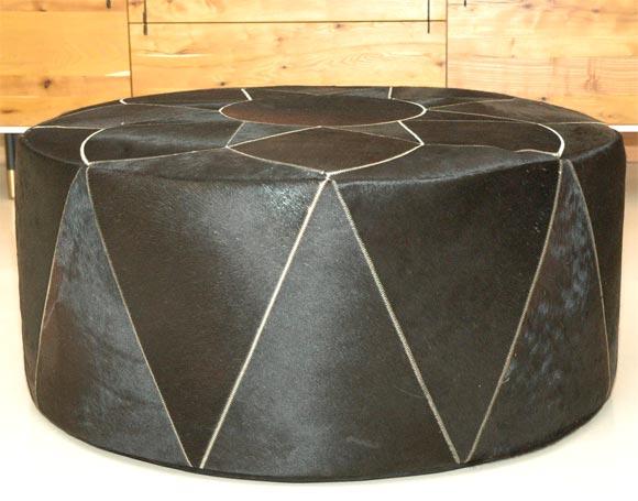 Argentine Large Cowhide Pouf or Ottoman