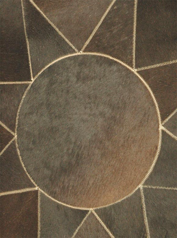 Large Cowhide Pouf or Ottoman 2