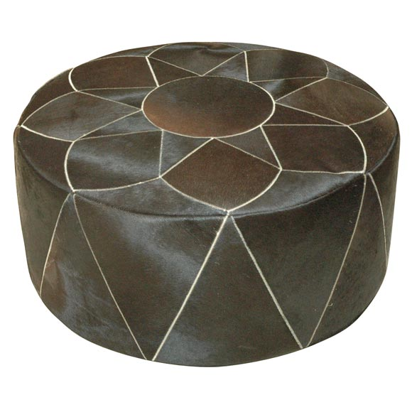 Large Cowhide Pouf or Ottoman