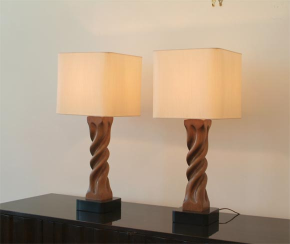 pair of heifitz carved wooden table lamps at 1stdibs. Black Bedroom Furniture Sets. Home Design Ideas