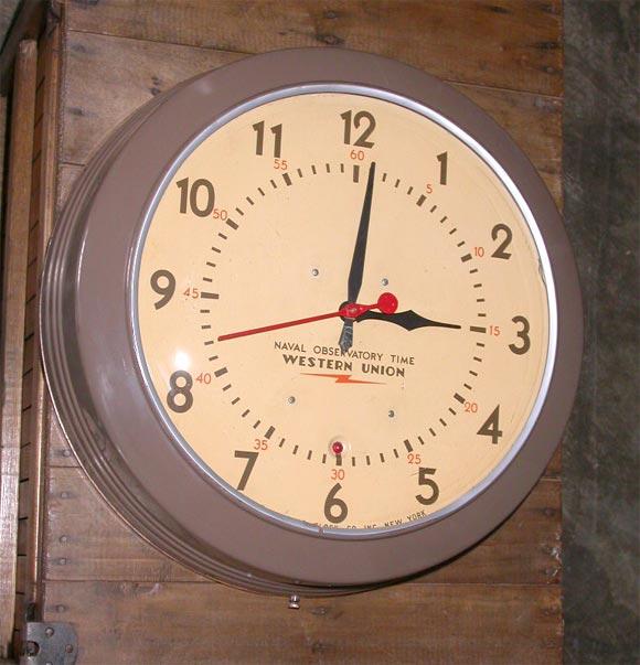 Western Union Wall Clock At 1stdibs
