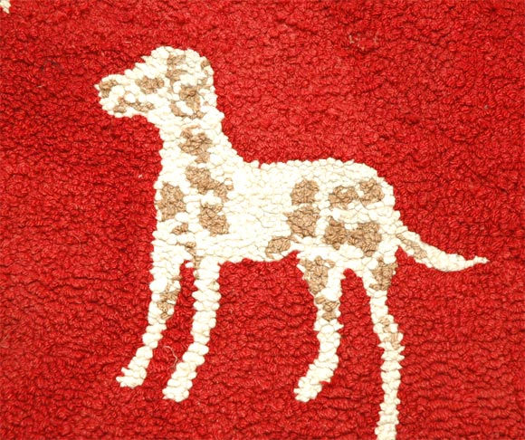 Dog Hooked Rugs: 1920s Hand Hooked And Mounted Pictoral Dogs Rug For Sale