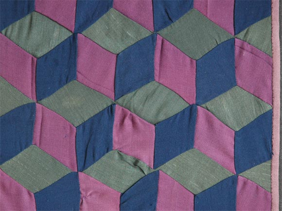 American 1920s Amish Rare Cradle Quilt/Tumbling Blocks For Sale