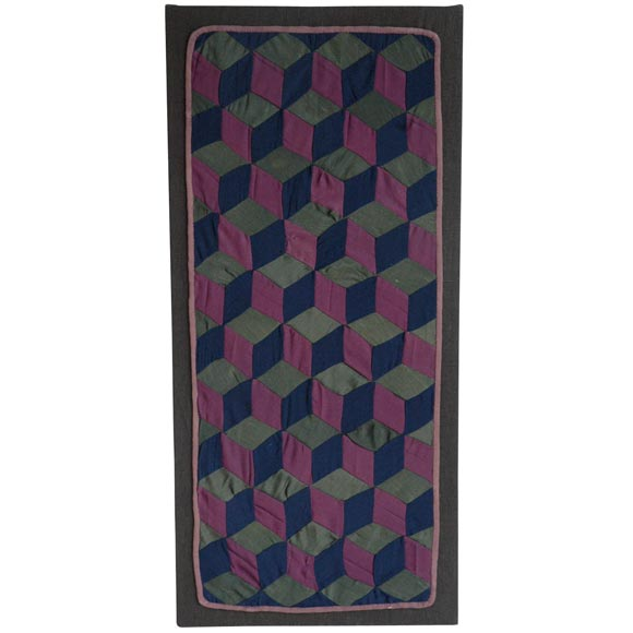 1920s Amish Rare Cradle Quilt Tumbling Blocks For Sale At