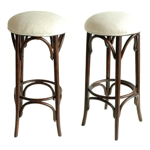 Set Of Two Bentwood 1920 S Bar Stools With Linen Seats At