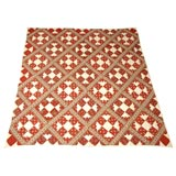 19THC PAISLEY FABRIC GEOMETRIC QUILT FROM NEW ENGLAND