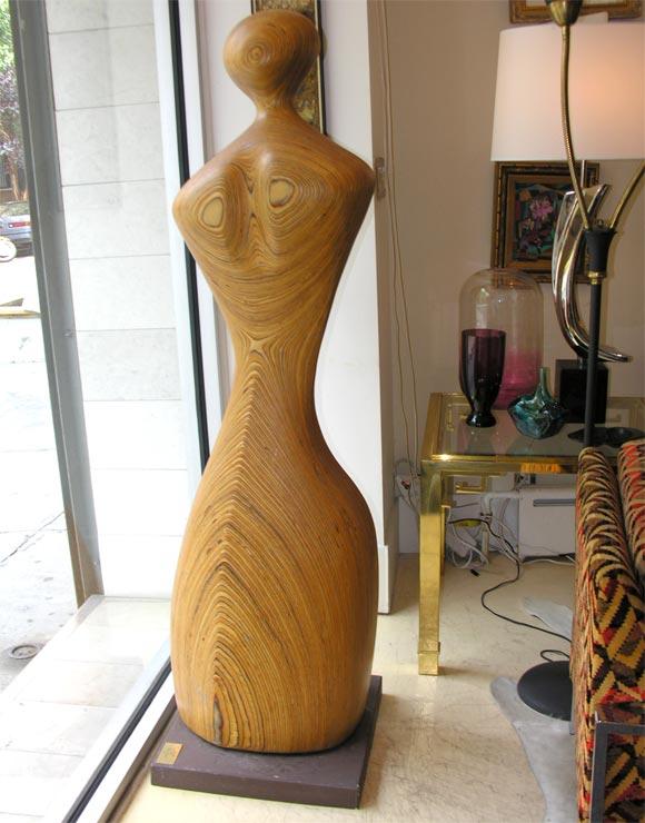 "Large laminated wood sculpture. ""Ellie"" by Dick Shanley."